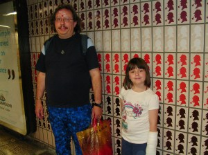 Me with Daughter in Baker St  Underground Station travelling to meet Satguru