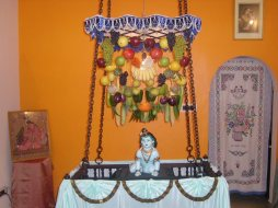 Celebration of Lord Krishna's birthday as Srijayanthi in an Iyengar's house in South India
