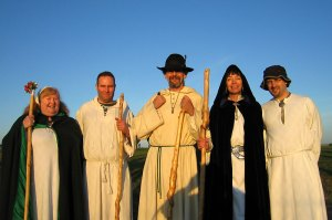 Picture of neo-druids in their robes at Stonehenge