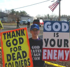 "Westburo Baptists thank God for dead soldiers and proclaim ""God Hates Fags"""
