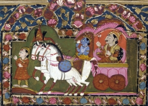 Image of 18th-19th century picture  with illustration from the Gita