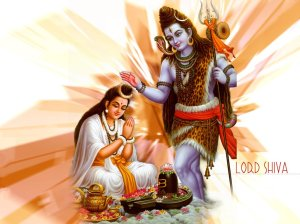 Lord Shiva bestows blessings on a devotee