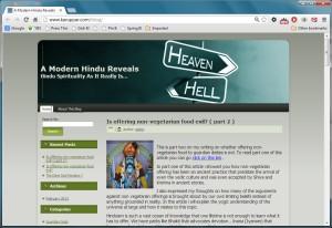 """A screenshot of the """"A Modern Hindu Reveals"""" blog"""