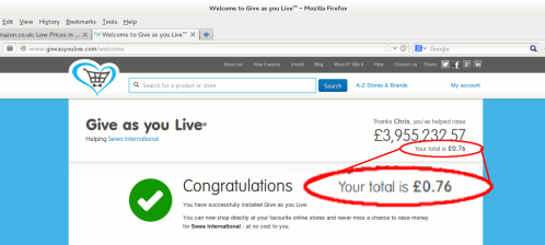 image showing 76p donation to give as you live