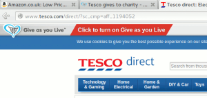 Click the red button to give while shopping online