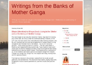 screensht from blog: Writings from the Banks of Mother Ganga